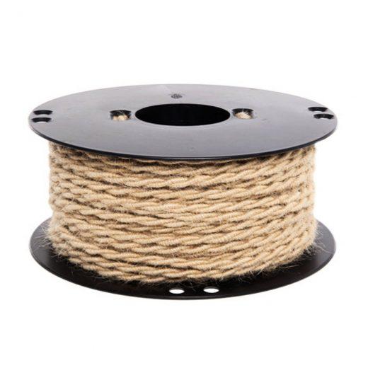 Kábel dvojžilový v podobe retro lana, juta, 2 x 0.75mm, 1 meter (1)