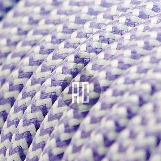 Kábel dvojžilový v podobe textilnej šnúry so vzorom WhitePurple, 2 x 0.75mm, 1 meter (1)