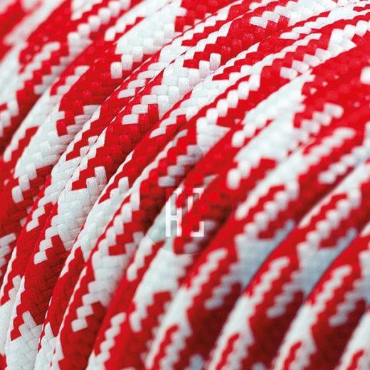 Kábel dvojžilový v podobe textilnej šnúry so vzorom WhiteRed, 2 x 0.75mm, 1 meter (1)