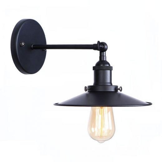 Historické nástenné svietidlo s tienidlom v čiernej farbe