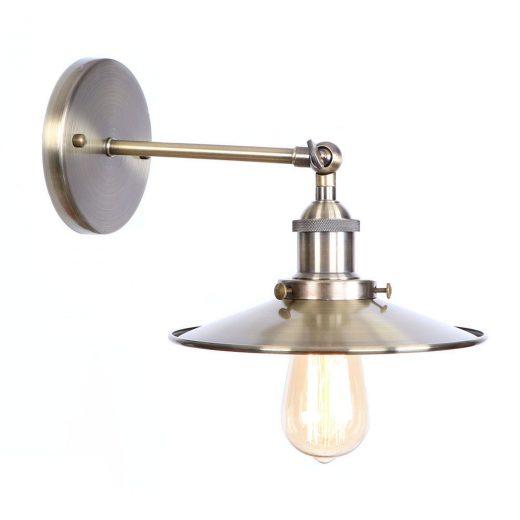 Historické nástenné svietidlo s tienidlom v staro mosádznej farbe