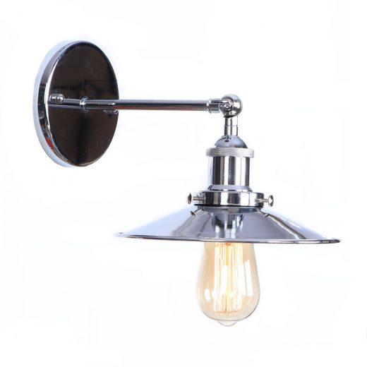 Historické nástenné svietidlo s tienidlom v striebornej farbe (1)