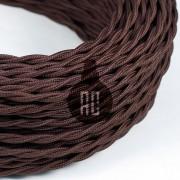 Kábel dvojžilový skrútený v tmavo hnedej farbe, bavlna, 2 x 0.75mm, 1 meter (1)