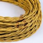 Kábel dvojžilový skrútený v zlatej farbe, bavlna, 2 x 0.75mm, 1 meter (1)