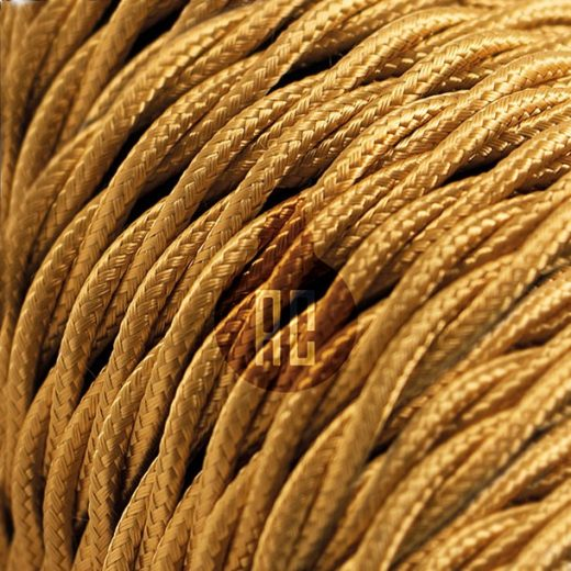 Kábel dvojžilový skrútený v zlatej farbe, bavlna, 2 x 0.75mm, 1 meter (2)
