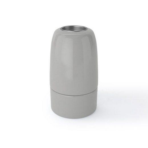 Porcelánová objímka s päticou E14 • Italy • šedá