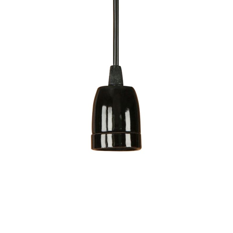 Porcelánové závesné svietidlo s čiernym káblom v čiernej farbe (2)
