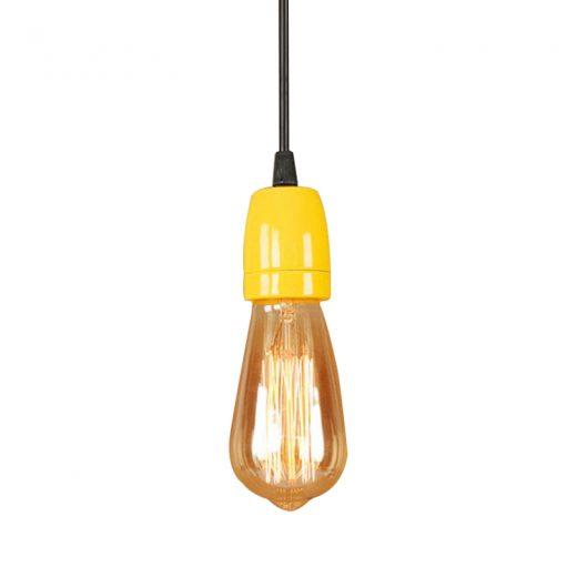 Porcelánové závesné svietidlo s čiernym káblom v žltej farbe (2)