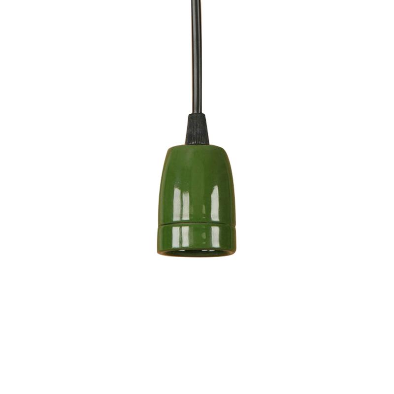 Porcelánové závesné svietidlo s čiernym káblom v zelenej farbe (2)