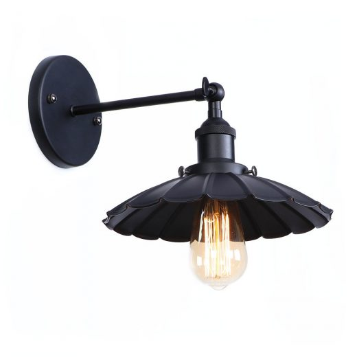 Retro nástenné svietidlo Rustic v čiernej farbe (2)