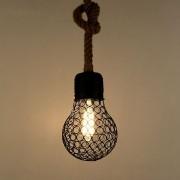 Závesné lanové svietidlo s čiernou klietkou v tvare žiarovky, 15cm (1)