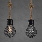 Závesné lanové svietidlo s čiernou klietkou v tvare žiarovky, 15cm (2)