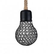 Závesné lanové svietidlo s čiernou klietkou v tvare žiarovky, 15cm. Objavte prírodné prvky a námornú atmosféru s týmto nádherným lanovým svietidlom