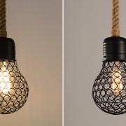 Závesné lanové svietidlo s čiernou klietkou v tvare žiarovky, 15cm (4)