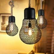 Závesné lanové svietidlo s čiernou klietkou v tvare žiarovky, 30cm (1)