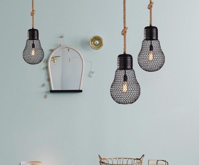 Závesné lanové svietidlo s čiernou klietkou v tvare žiarovky, 30cm (4)