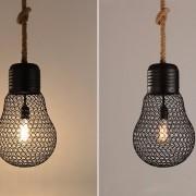 Závesné lanové svietidlo s čiernou klietkou v tvare žiarovky, 30cm (5)