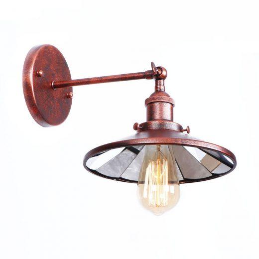 Zrkadlová Vintage nástenná lampa v staro medenej farbe