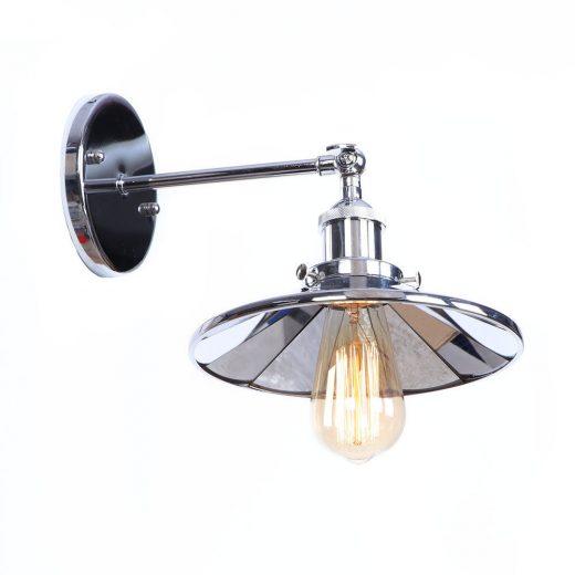 Zrkadlová Vintage nástenná lampa v striebornej farbe (3)