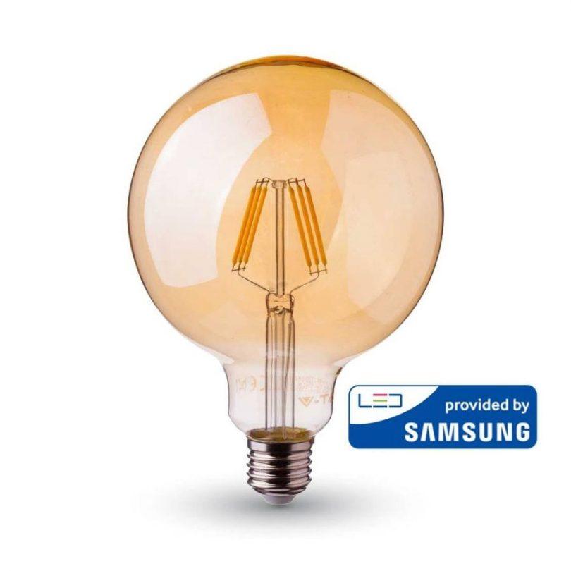 FILAMENT žiarovka so SAMSUNG čipom - Sphere - E27, 6W, 725lm, Teplá biela