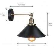 Historické nástenné svietidlo s tmavým tienidlom s otočným spínačom (3)
