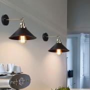 Historické nástenné svietidlo s tmavým tienidlom s otočným spínačom (4)