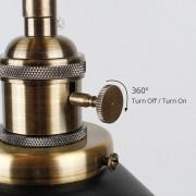 Historické nástenné svietidlo s tmavým tienidlom s otočným spínačom (7)