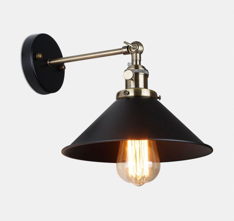 Historické nástenné svietidlo s tmavým tienidlom s otočným spínačom (8)