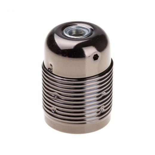 Retro kovová objímka s plastovým držiakom kábla v čiernej farbe (2)