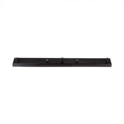 Stropná obdĺžniková rozeta na 3 svietidlá • kovová • čierna (2)