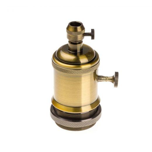 Vintage objímka s otočným spínačom, E27, staro zlatá farba