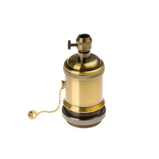 Vintage objímka s retiazkovým spínačom, E27, staro zlatá farba (1)