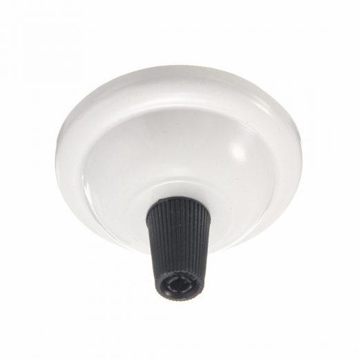 Závesná okrúhla stropná rozeta s čiernym plastovým zámkom • kovová • biela