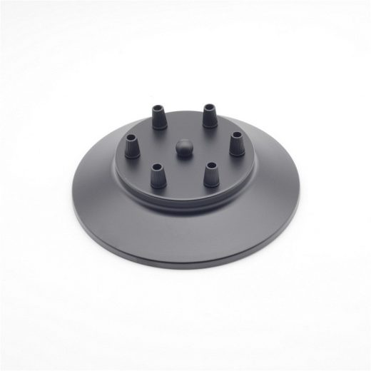Závesný-okrúhly-stropný-držiak-kovový-6-pätíc-čierna-farba