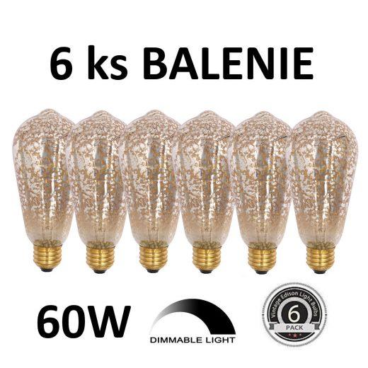 Dekoračná žiarovka - ANTIQUE TEAR - E27, 60W, Teplá biela - BALENIE 6 KUSOV