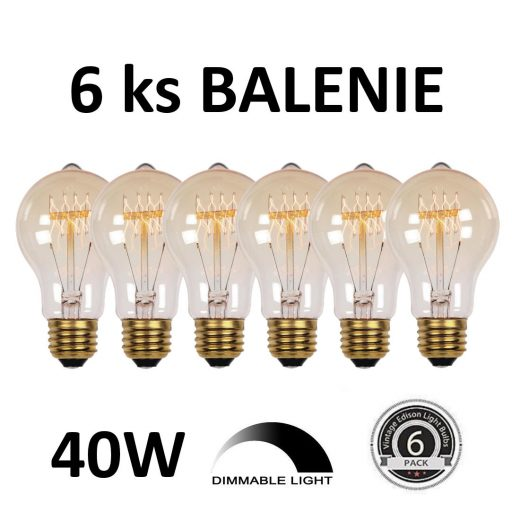 EDISON žiarovka - CLASSIC-B - E27, 40W, 150lm - BALENIE 6 KUSOV