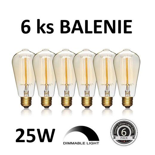 EDISON žiarovka - TEARDROP - E27, 25W, 100lm - BALENIE 6 KUSOV