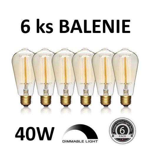 EDISON žiarovka - TEARDROP - E27, 40W, 120lm - BALENIE 6 KUSOV.