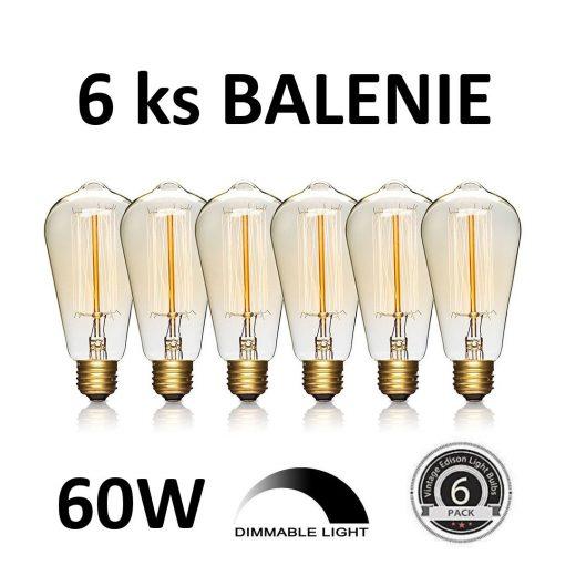 EDISON žiarovka - TEARDROP - E27, 60W, 200lm - BALENIE 6 KUSOV