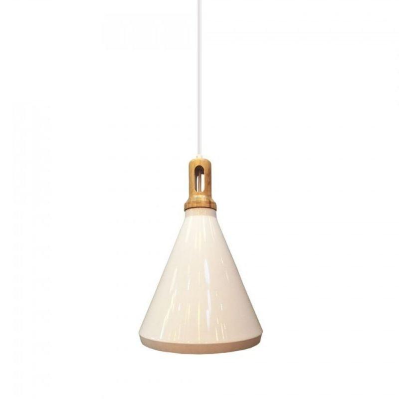 Historické závesné svietidlo Holz s bielym tienidlom (2)