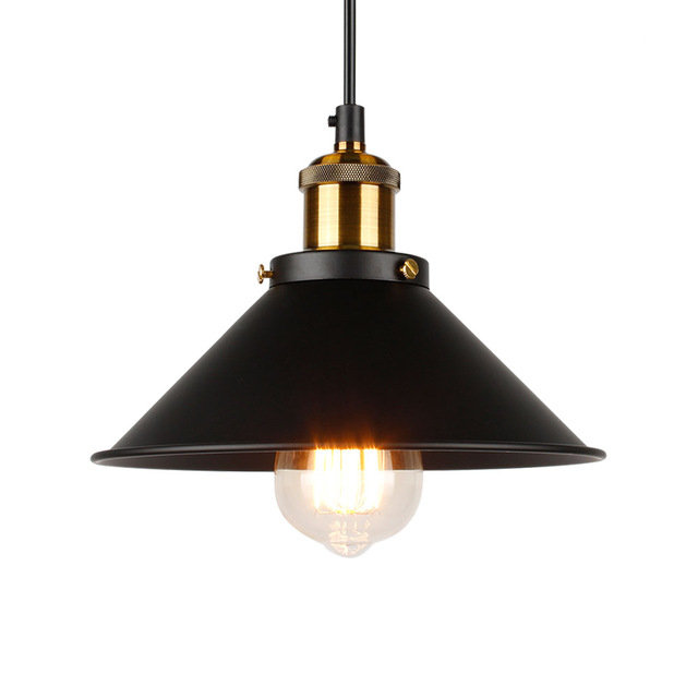 Historické závesné svietidlo s čiernym hlbokým tienidlom, 220mm