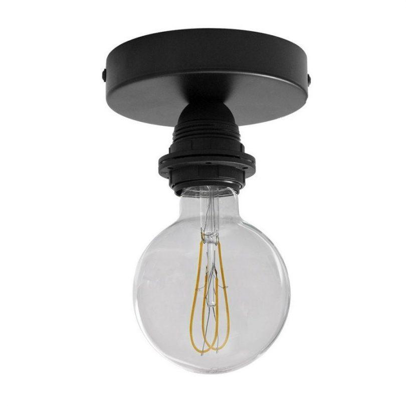 Kovové svietidlo na stenu alebo strop, možnosť pripojenia tienidla, čierna farba (1)