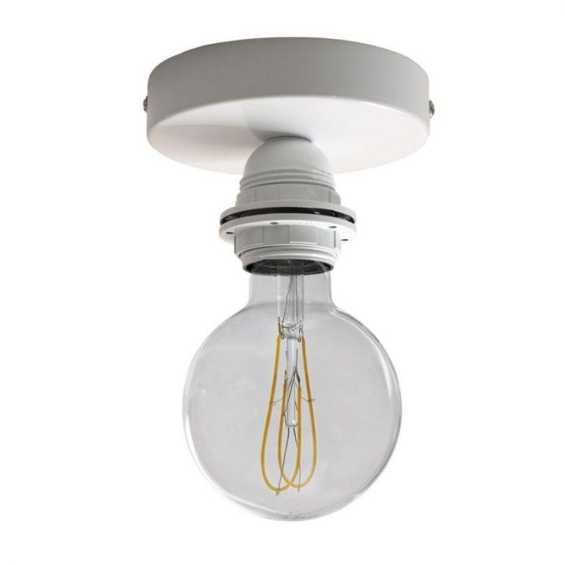 Kovové svietidlo na stenu alebo strop, možnosť pripojenia tienidla, biela farba (1)