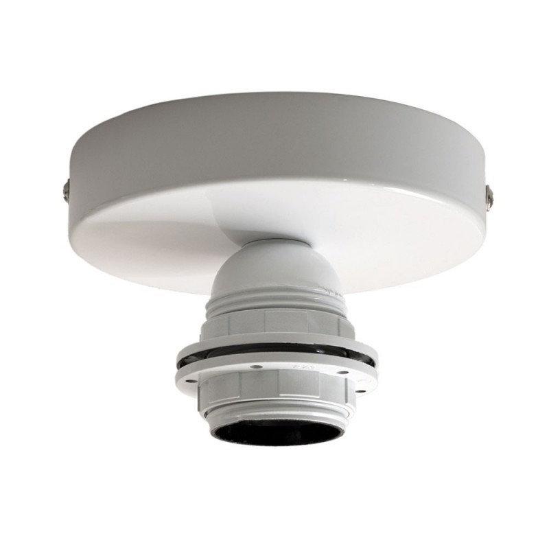 Kovové svietidlo na stenu alebo strop, možnosť pripojenia tienidla, biela farba (2)