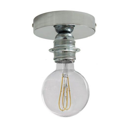 Kovové svietidlo na stenu alebo strop, možnosť pripojenia tienidla, chrómované (1)