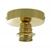 Kovové svietidlo na stenu alebo strop, možnosť pripojenia tienidla, mosádzna farba (2)