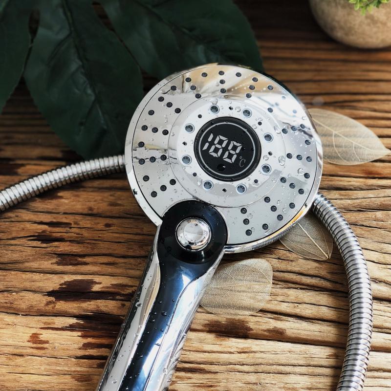 Sprchová hlavica s LED podsvietením a digitálnym teplomerom, 3 funkcie (10)