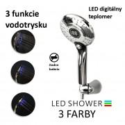 Sprchová hlavica s LED podsvietením a digitálnym teplomerom, 3 funkcie