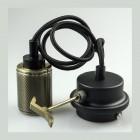 Závesné kovové svietidlo s držiakom pre zavesenie kábla, bronzová farba (1)