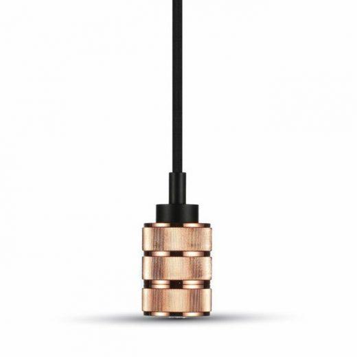 Závesné kovové svietidlo s držiakom pre zavesenie kábla, ružovo zlatá farba (2)